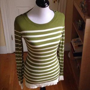 Banana Republic green white stripe sweater S (EUC)